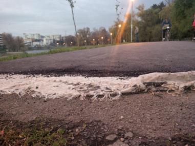 Reabilitare drum pista biciclete , malul Somes-Cluj- Geocompozit antifisura asfalt-2015